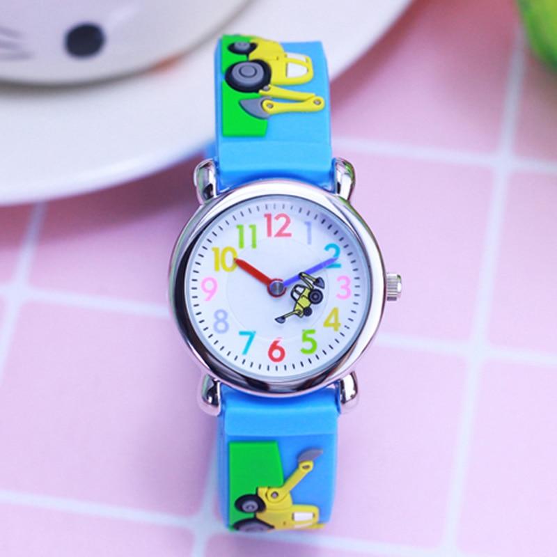Fashion Watches For Boy Children Cartoon Excavator Strap Watch Life Waterproof Silicone Bracelet Wristwatch Kids Gift