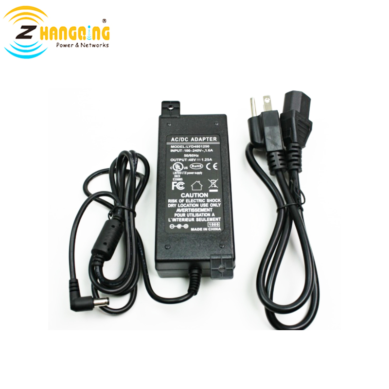 48V60W power supply for Gigabit 10/100/1000 Mbps PoE Patch Panel for IP Camera, VOIP, WiFi AP