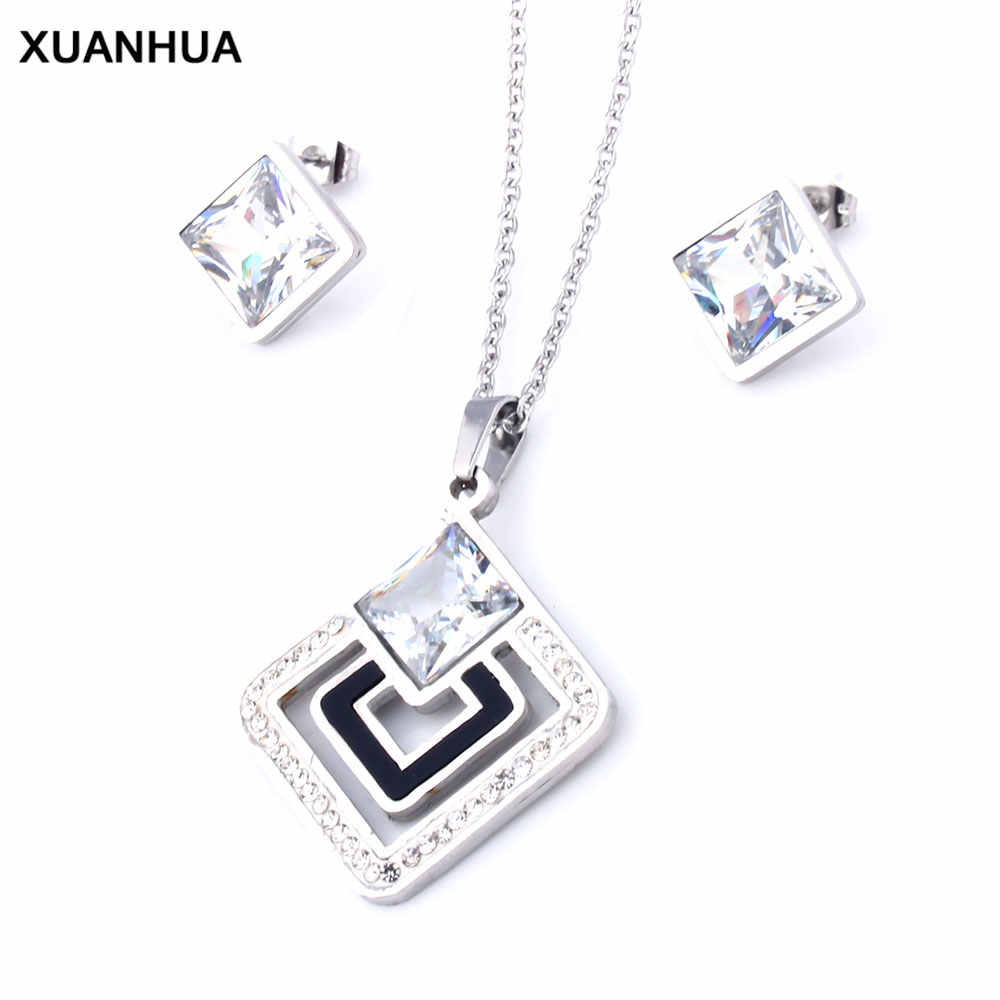 XUANHUA Stainless Steel Jewelry Woman Jewelry Sets Shell Necklace And Earing Set Jewellery Gifts For Women Wedding Jewelry Set