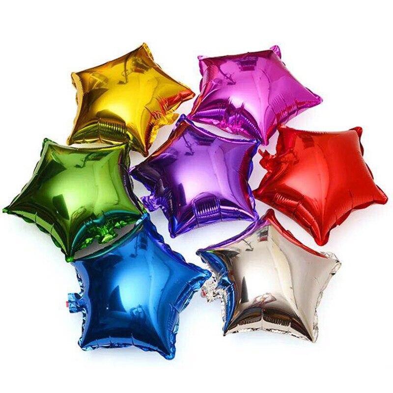 5 шт., воздушные гелиевые шары с пятиконечной звездой, воздушные гелиевые шары для детского дня рождения, вечерние украшения для детей, сваде...