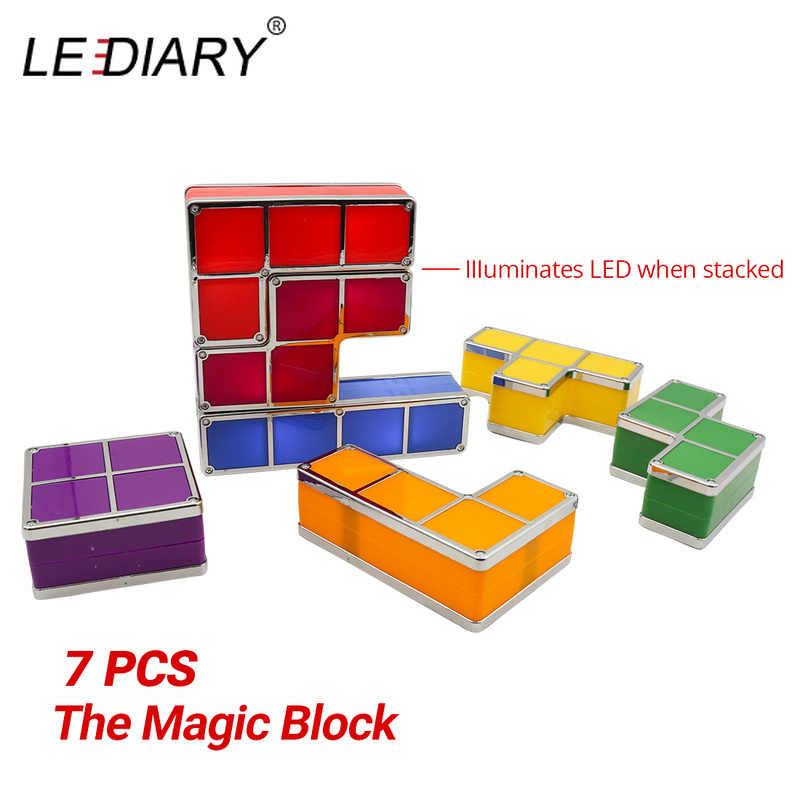 Светодиодный IARY DIY тетрис светодиодный свет Штабелируемый лампа-головоломка застройку блок светодиодные лампы Ночник ЕС розетка стандарта США цветной Кирпич детские игрушки