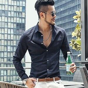 Image 4 - Повседневное Гавайские рубашки Для мужчин из хлопка и льна дизайнерский бренд Slim Fit Мужские рубашки с длинным рукавом БЕЛЫЕ РУБАШКИ для Для мужчин одежда весна S1098
