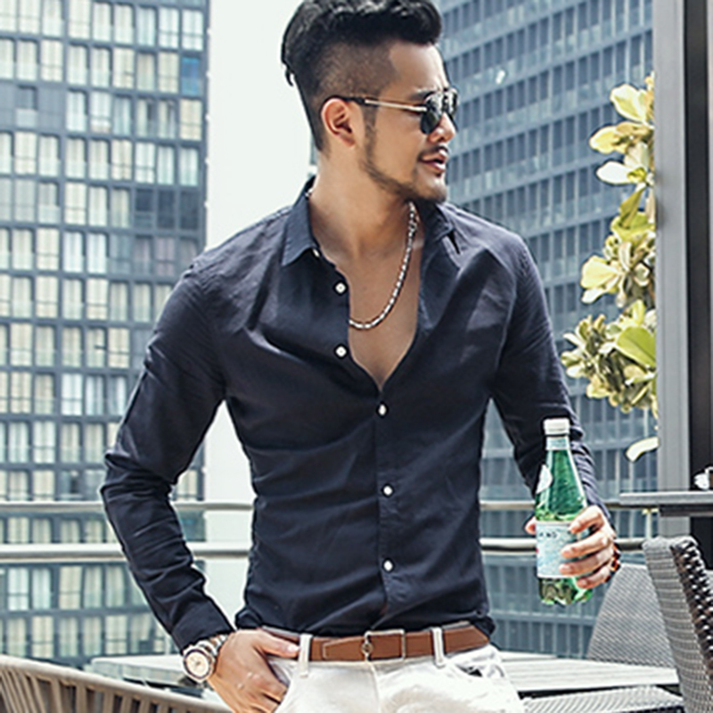 Image 4 - Casual Hawaiian Shirts Men Cotton Linen Designer Brand Slim Fit 