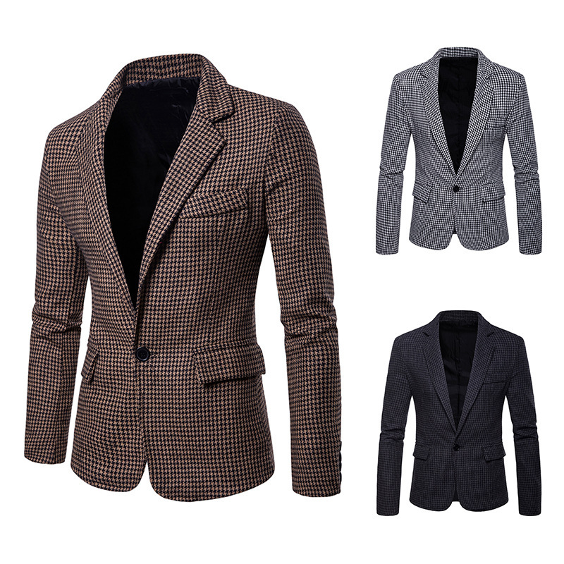 Men's European Code Leisure Houndstooth Large Size Suit Jacket Slim Plaid One Button Suit