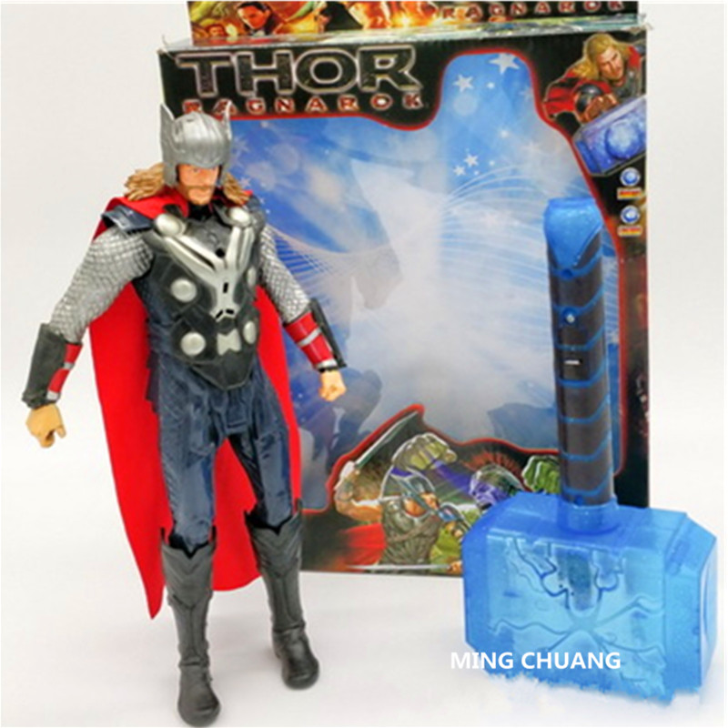 29CM Film Thor Superhero Odin Father Quake Loki Destroyer Enemy With Sound With LED Light Plastic Action Figure Toy D370