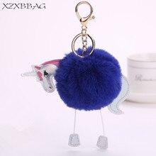 XZXBBAG Bag Parts Accessories Ornament Cute Fluffy Unicorn Bag Pendant Women Plush Ball Bag Decoration Chain Ring Keychain
