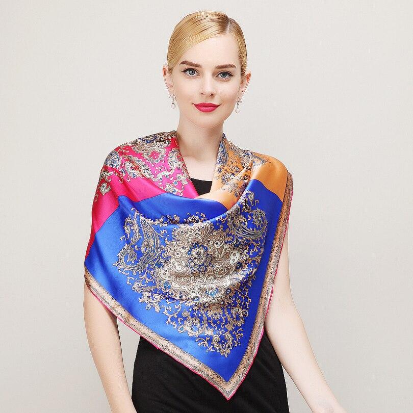 Mode Royal Style Bleu Rose Foulard De Soie Nouvelle Europe Amérique Marque  Grand Carré Foulards De Luxe Estampage À Chaud Femmes Écharpe Châle 8e305258f08