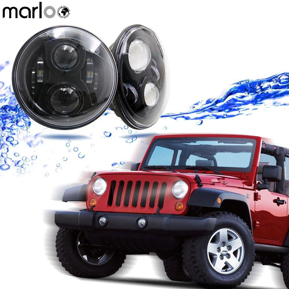Marloo Pair 7 Inch Round LED Headlights For Toyota Land Cruiser Jeep Wrangler CJ-5 CJ-7 TJ LJ JK JKU Rubicon Sahara Hummer H1 H2 7 led headlights bulb rgb halo angel eye with bluetooth remote for 1997 2016 jeep wrangler jk lj cj hummer h1 h2 headlamp