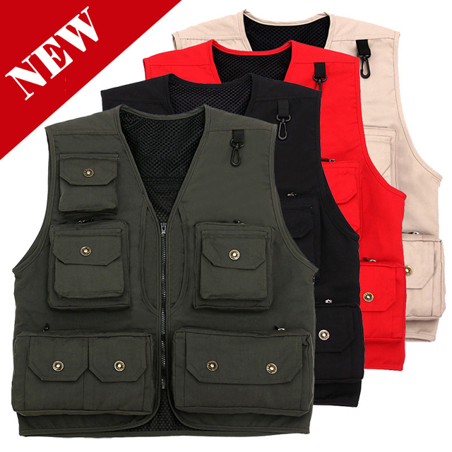 Multi Pocket waistcoat red beige black green photography director reporter outdoor worker advertising fishing mens canvas vest