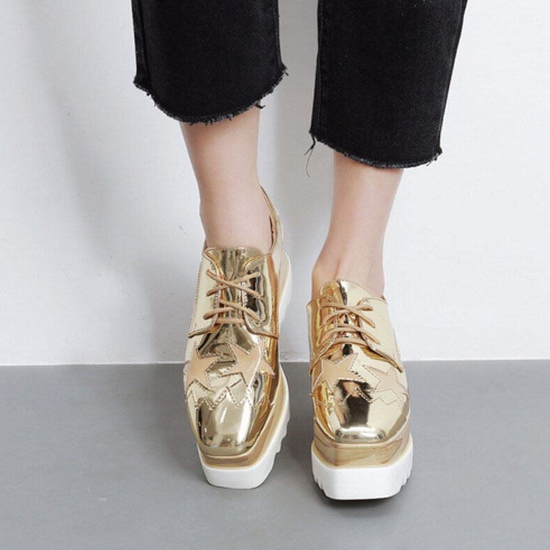 22 5cm 25cm 2018 Patent Leather Square Toe Fashion Casual Shoes Stars Lace up Height Increasing Women Wedge Heels Platform Shoes in Women 39 s Pumps from Shoes