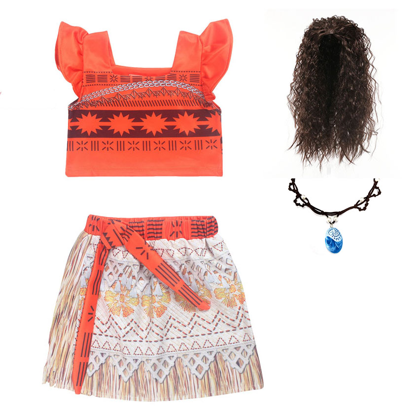 Kids Girl Princess Party Dress Moana Adventure Elsa Clothing Girls Dress Set with wig and Necklace baby Vaiana Cosplay Clothes moana baby girls dress cosplay party dresses elsa anna princess moana kids clothes vestidos toddler girl dress children clothing