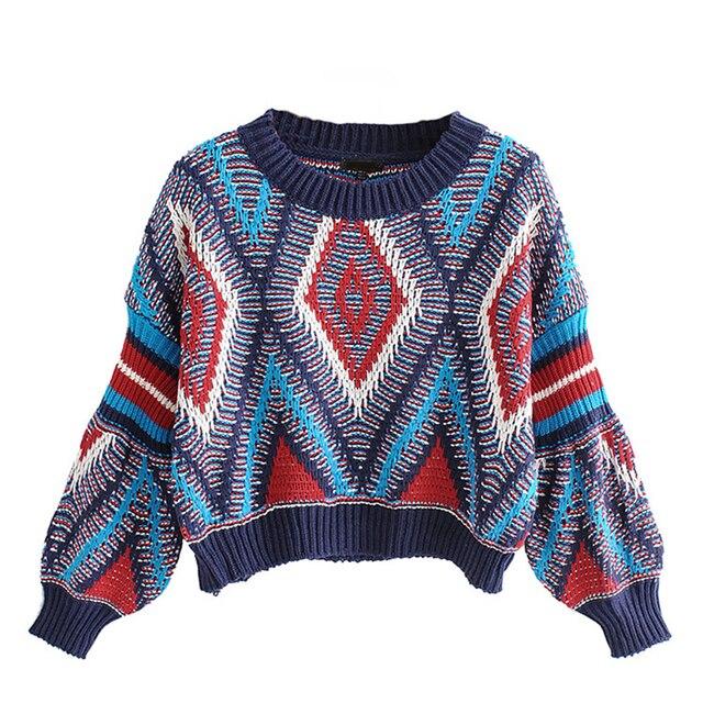 6eb32e44cbd Vintage Sweater Women Boho Geometric Argyle Patchwork Sweaters Casual  Lantern Sleeve Jumper Pullover Autumn Winter 2019