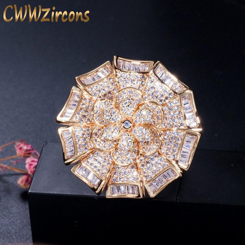 CWWZircons, piedras de Zirconia cúbica africana de lujo, anillos de flores de Color dorado grande geométrico para mujeres, joyería de boda declaración R134 Enagua blanca Underskirt flor niña vestidos de boda accesorios 3 aros niños Crinoline 3-12 años niñas Puffy enagua