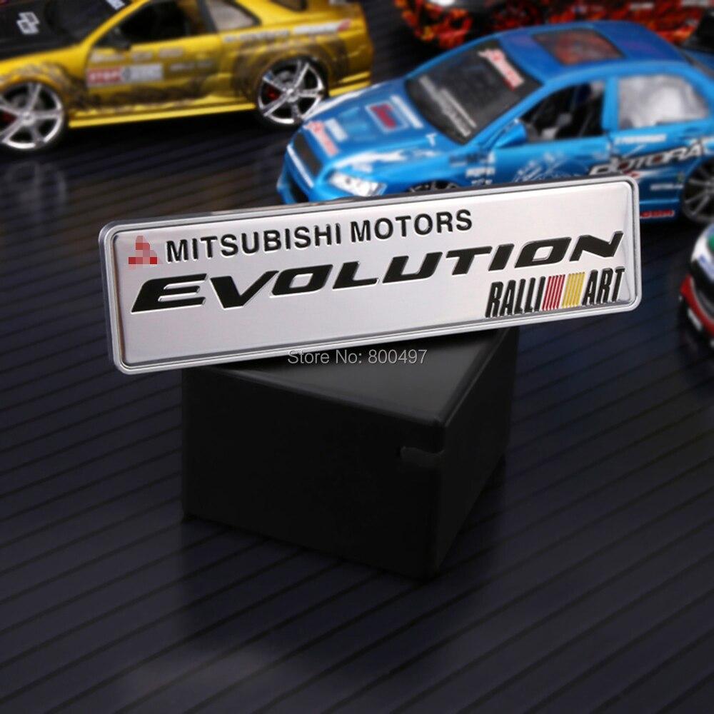 10 x newest 3d car trunk badge emblem ralliart evolution for mitsubishi motors adhesive motocross logo