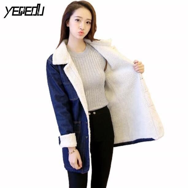 #2420 2018 Denim long jacket Jaqueta feminina inverno Fashion Thick Women coat Jeans jacket Thick Fleece Winter coat Windbreaker