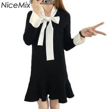 NiceMix 2018 Herbst Winter Kleid Frauen Süße Lange Gestrickte Pullover  Kleider Kawaii Bogen Schnürung Schlanke Rüschen 8615b37e64