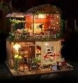 Рея в кофейня большие DIY дерева пастырской кукольный дом 3D миниатюрный пылезащитный чехол + фары + мебель дома и кафе украшения CE