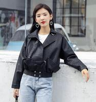 d9f8965bb2 Faux Motorcycle Black PU Leather Jacket Women Chaqueta Mujer New Spring  Bomber Jacket Women Ladies Leather