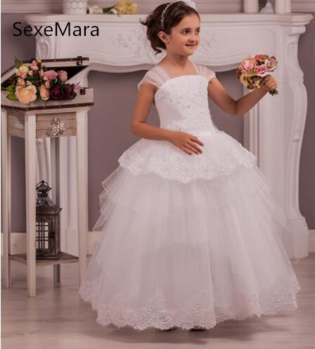 White Lace Tulle   Flower     Girls     Dresses   for Wedding Ankle Length Beaded Lace Tiered Gown for Little   Girls   Pageant Party Ceremony