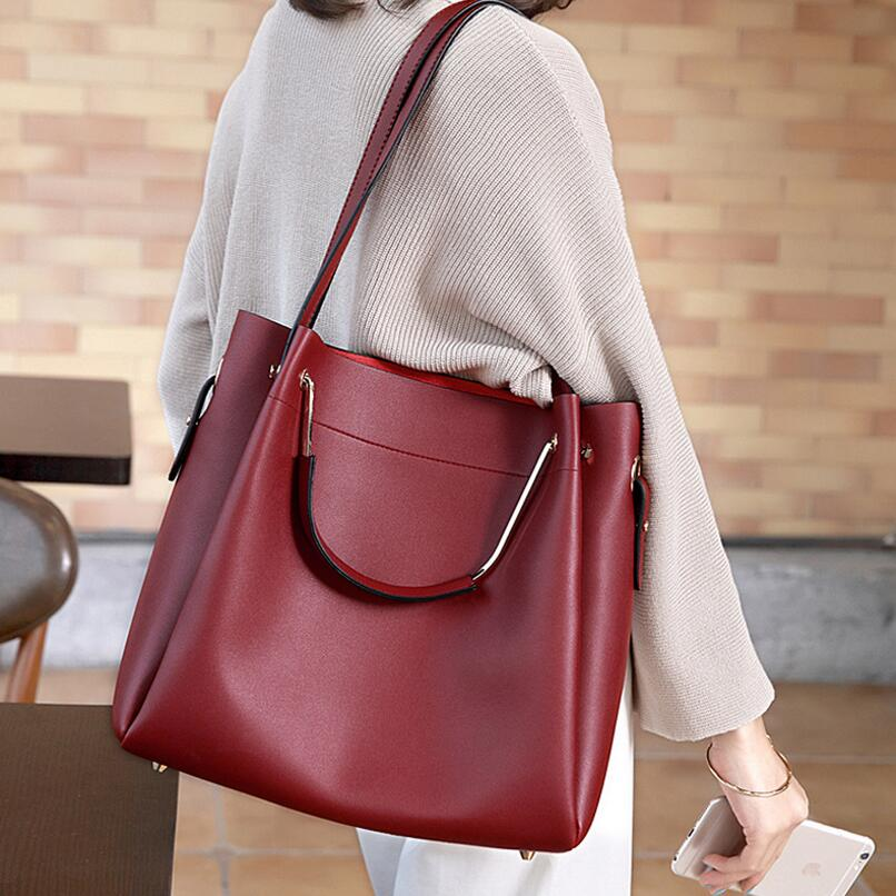 FoxTail & Lily Brand Composite Bucket Bags Women Shoulder Messenger Bag Large Capacity PU Leather Tote Handbags Luxury Quality