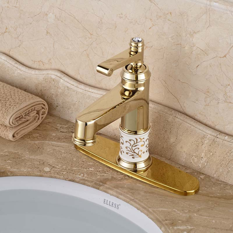 Classic Deck Mount Brass Basin Sink Faucet Single Handle Golden Bathroom Mixer Taps with 8 Hole