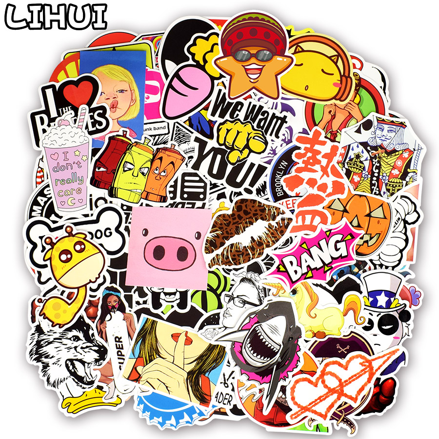 700PCS Random Colorful Stickers Mixed Graffiti Punk Cartoon Sticker Toys for Kid DIY Guitar Travel Case Laptop Bicycle Stickers