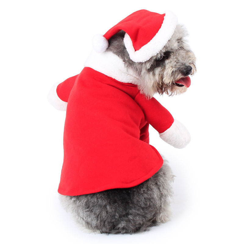 Pet Christmas Costume Dog Suit with Cap Santa Claus Coat Hoodies for Small Dogs Cats Funny Puppy Christmas Party Clothes Best Pr