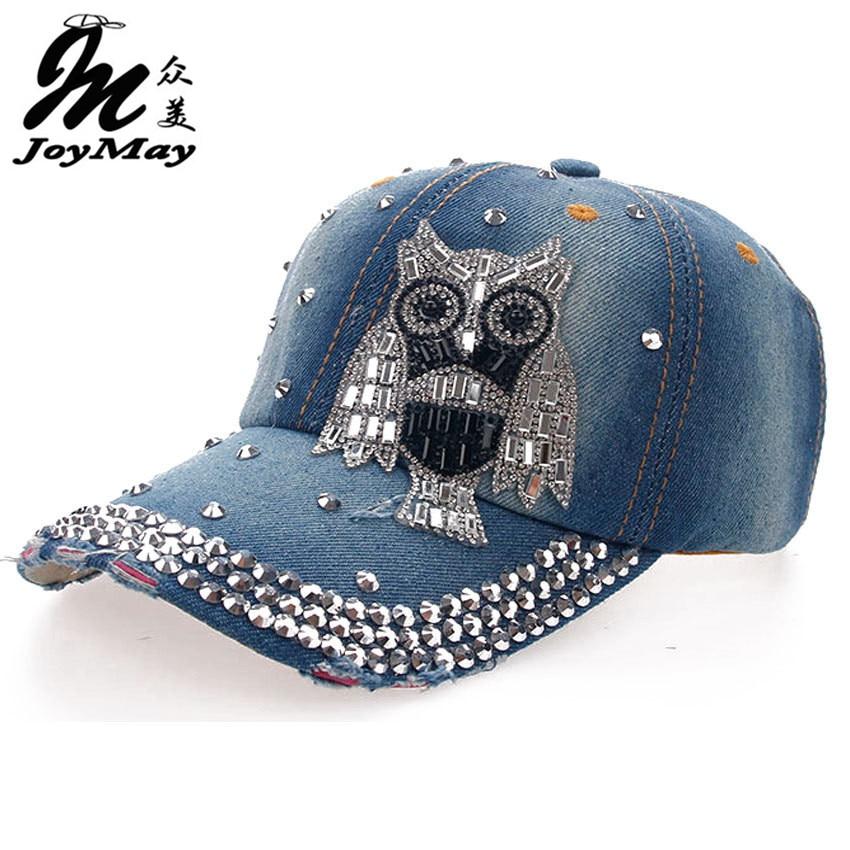Prix pour Haute qualité En Gros Au Détail Joymay Hat Cap Loisirs Mode HIBOU Strass Vintage Jean Coton CASQUETTES Casquette de baseball B094