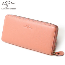 KANGAROO KINGDOM trend real leather-based girls wallets lengthy girl clutch purse model lady card holder pockets