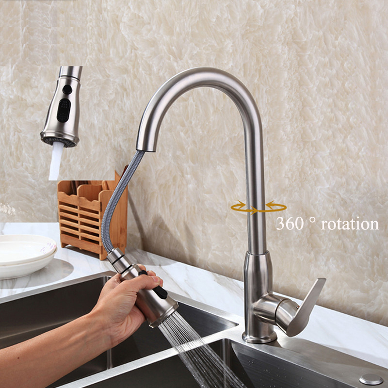 360 Degree Rotation Pull Down Kitchen Faucet With Two Spouts Handheld Shower Brushed Kitchen Mixer Tap Deck Mounted everso solid brass kitchen faucet double spouts 360 degree