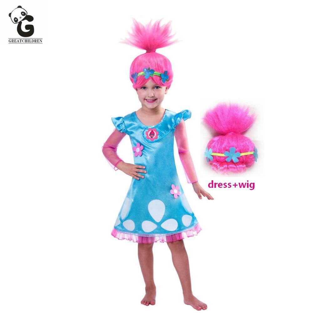 Trolls Poppy Vestidos de Ropa De Halloween Vestido de Los Cabritos Visten Trajes