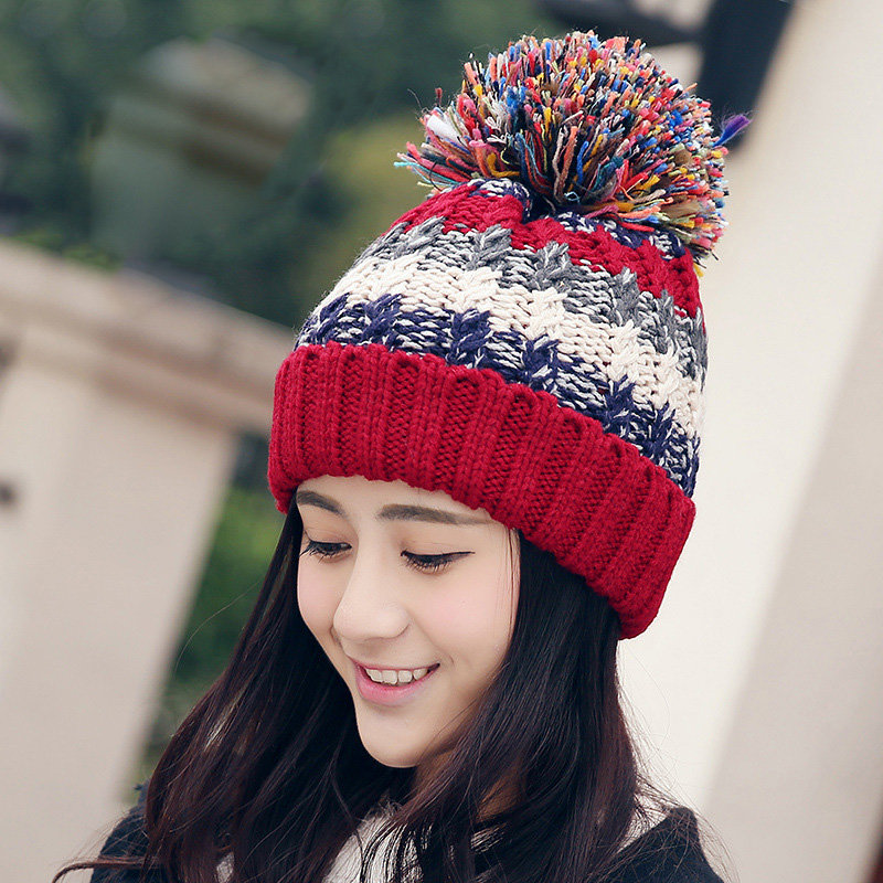 Autumn Winter Hat for Women Girls Skullies Women's Beanies Warm Knitted Hat Mixed Color Female Winter Cap Brand Women Beanie Hat toyouth skullies beanies 2017 autumn and winter women snowflakes warm thicken knitted hat female