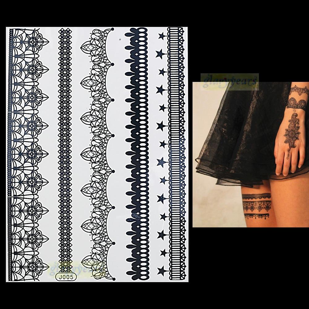 1 Unid Moda Flash Impermeable Tatuaje Mujeres Negro Henna