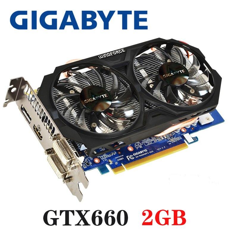 GIGABYTE Placa Gráfica GTX 660 GB 192Bit 2 GDDR5 Placas De Vídeo para nVIDIA Geforce GTX660 2G Usado VGA Gráficos cartão