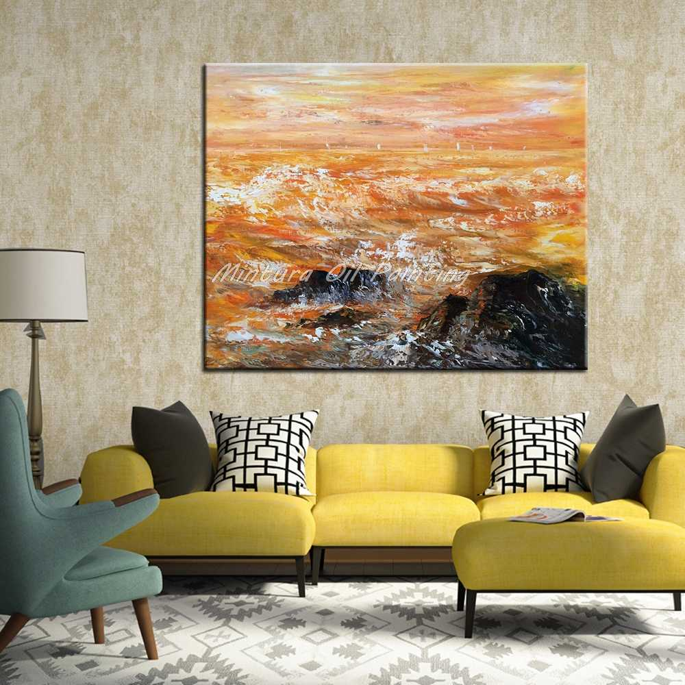 Mintura Art Hand Painted Abstract Landscape Oil Painting On Canvas Modern Wall Art Picturs For Living Room Home Decor No Framed