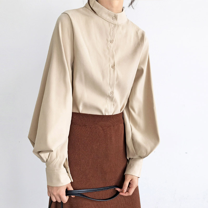 BGTEEVER Vintage Stand Collar Lantern Sleeve Women   Blouses   Tops Single Breasted Loose   Blouse     Shirt   Female Casual   Shirts   blusas