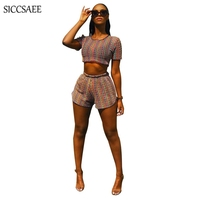 Cropped Crop Top And Shorts Sets Two Piece Set Sexy Knitted Bodysuit Fringe Striped Print Crochet Sheer Playsuits Summer Bike