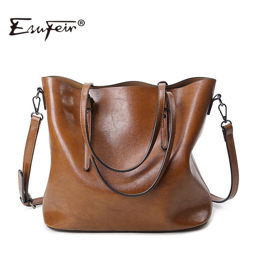 ФОТО ESUFEIR Brand 2016 Fashion Women Handbag PU Women Bag Large Capacity Oil Wax Leather Shoulder Bag Casual Tote Bag Crossbody Bag