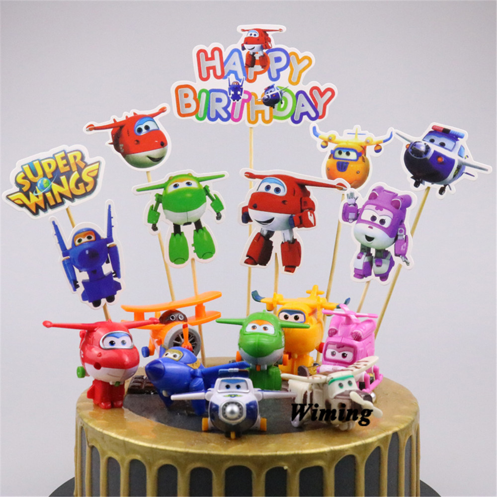 airplane cake topper super wings toys helicopter party birthday cake decorating supplies flying plane toy cupcake toppers image