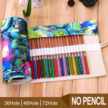 36/48/72 Holes Pencil Case Portable Canvas Roll Up Pen Case Students Stationary Storage Bag Pouch For Painting School Supplie 120 slots pencil case large capacity travel portable colored pencil holder pen zipper bag pouch for artist students stationary