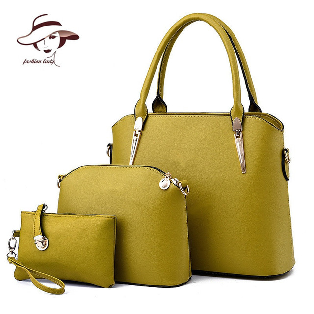 2017 Women Handbags Leather Handbag Women Messenger Bags Ladies Brand Designs Bag Famous Bags Handbag+Purse+Messenger Bag 3 Sets