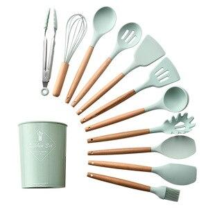 Image 2 - 12 adet Set ev silikon ahşap pişirme gereçler mutfak araçları seti Koken Gereedschap Met Opbergdoos Turner Tang Spatel Turner
