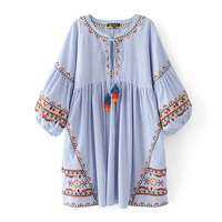 2017 Fashion Women Bohemian Floral Embroidery Dress Striped Colorful Tassel Lace Up O Neck Puff Sleeve