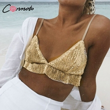 Conmoto Spaghetti Strap Party Short Gold Crop Top Sequin Bra Shirt Beach Sexy Camisole Tops Cami Women Casual Club Shirts 2018