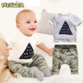 2017 Summer Active Style Baby Boys Clothing Sets Kids clothes  Boys Clothes Sleeveless SUP Letter T-shirt+Plaid pants 2pcs suit