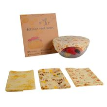 3pcs Food Grade Beeswax Fresh Cloth Reusable Fruit Storage Bag Small Medium Large Size Eco Friendly Wraps