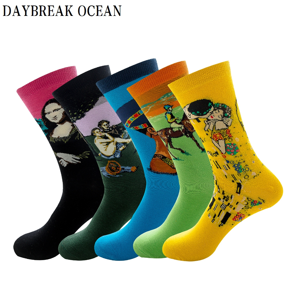 5 Pairs Mens Colorful Multi Style Combed Cotton Socks Fashion Casual Happy Funny Long Socks Spring Autumn Crew Mens Socks