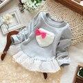 Venta del envío libre nuevos 2013 ropa de bebé primavera otoño de los niños camisetas de la muchacha linda del amor de manga larga camisa de los niños top de encaje