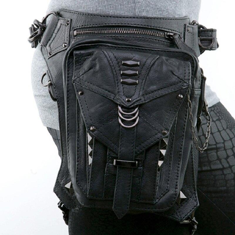 Black Leather Steampunk Leg Thigh Hip Holster Wallet Purse Pouch Mini Waist Packs Messenger Bag Color