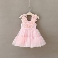 Bebé del tutú de la princesa del vestido floral Niñas verano sundress floral perlas Encaje hombro Vestidos Tutu vestido de partido del envío libre